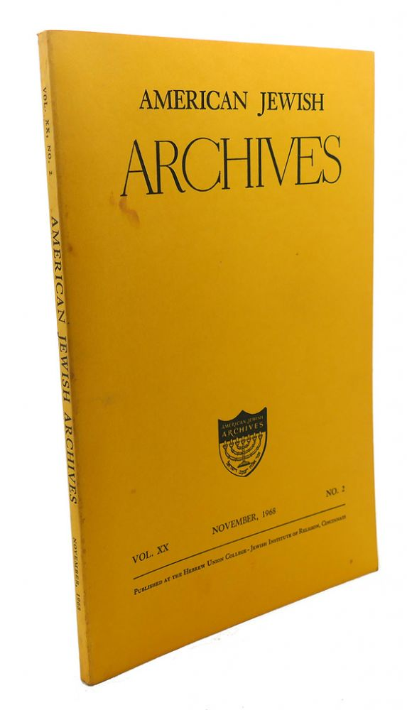 AMERICAN JEWISH ARCHIVES, VOL. XX, NOVEMBER,1968, NO.2