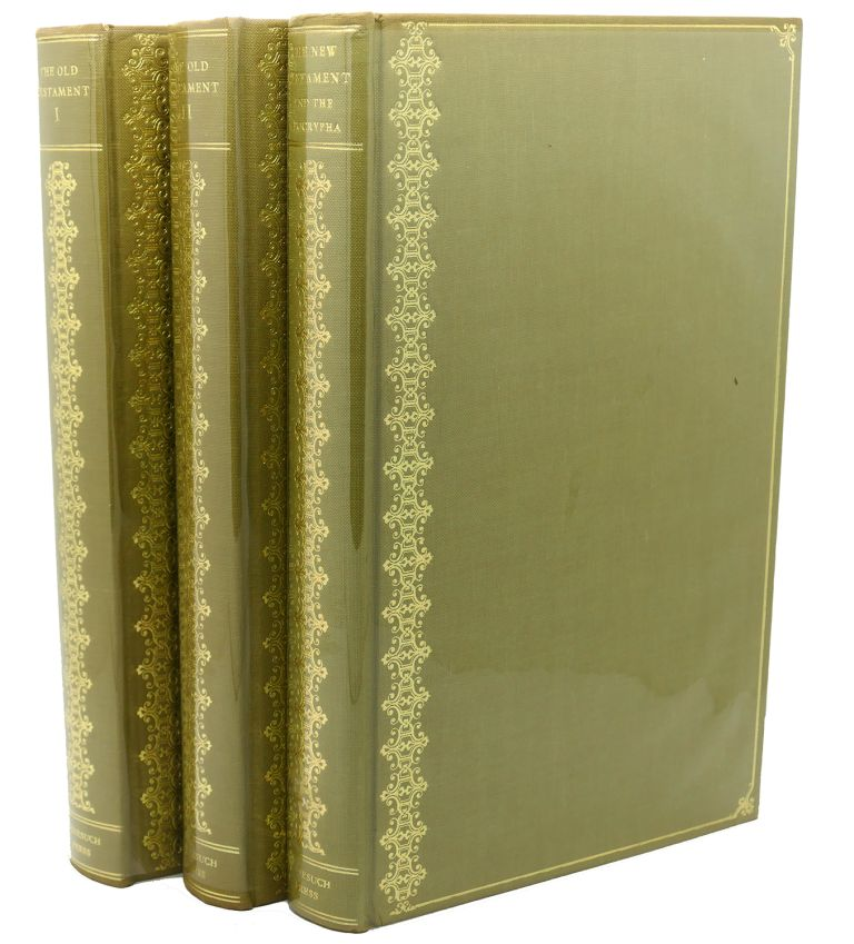 THE HOLY BIBLE; VOLUME 1: THE OLD TESTAMENT- GENESIS TO KINGS, VOLUME 2: THE OLD TESTAMENT CHRONICLES TO MALACHI AND VOLUME 3: THE NEW TESTAMENT FOLLOWED BY THE APOCRYPHA OF THE OLD TESTAMENT Nonesuch Press. Nonesuch Press.