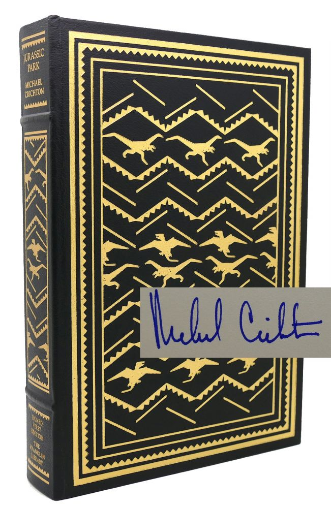 JURASSIC PARK Signed 1st Franklin Library. Michael Crichton.