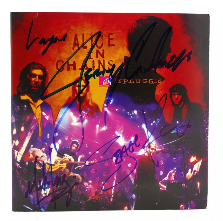 SIGNED ALICE IN CHAINS UNPLUGGED Signed. Layne Staley Jerry Cantrell Mike Inez Sean Kinney.