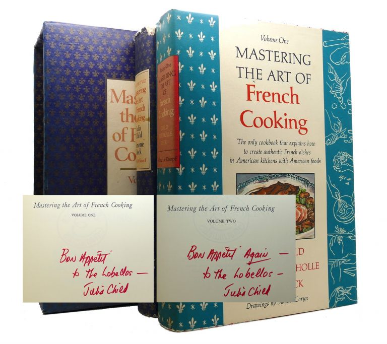 MASTERING THE ART OF FRENCH COOKING Vol 1 & 2. Both SIGNED. Julia Child.