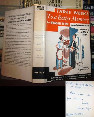 THREE WEEKS TO A BETTER MEMORY [ Signed 1st ] Signed 1st. Brendan Byrne, Intro James A. Farley,...